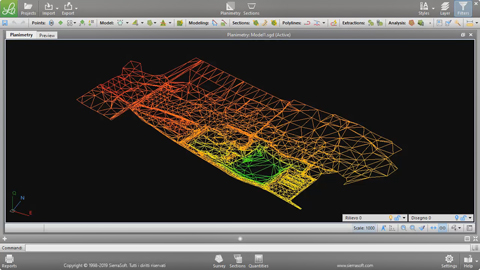 Constraint triangulation of the survey points with SierraSoft Land
