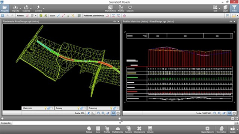 Road design - SierraSoft Roads - User Interface. Beautiful and functional