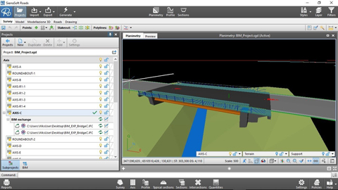 BIM road design: Interoperability for the definition of a bridge with another software